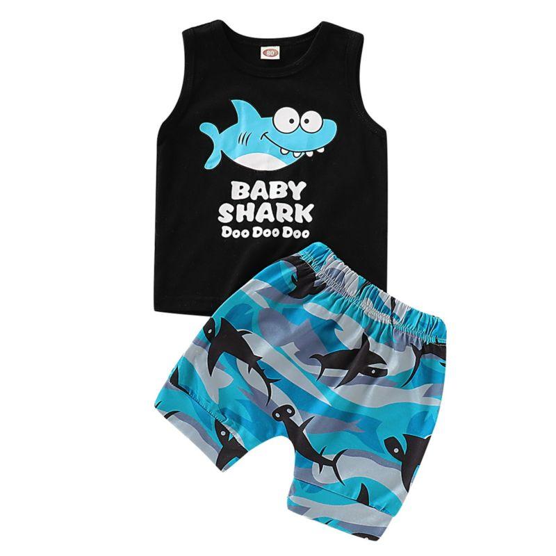 2-Piece Summer Baby Toddler Boy Shark Pattern Tank Top Matching Shorts