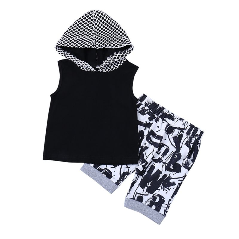 2-Piece Fashion Baby Little Boy Black Tank Top Matching Letters Print Pants Outfit