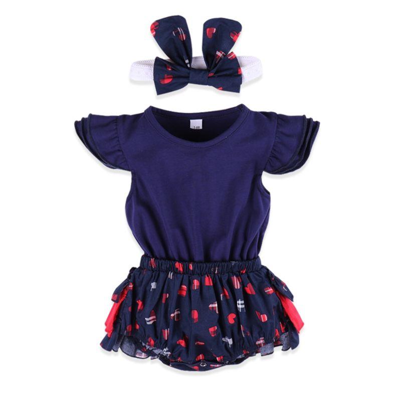 2-Piece Flutter Sleeve Ruffle Baby Romper Matching Bow Headband