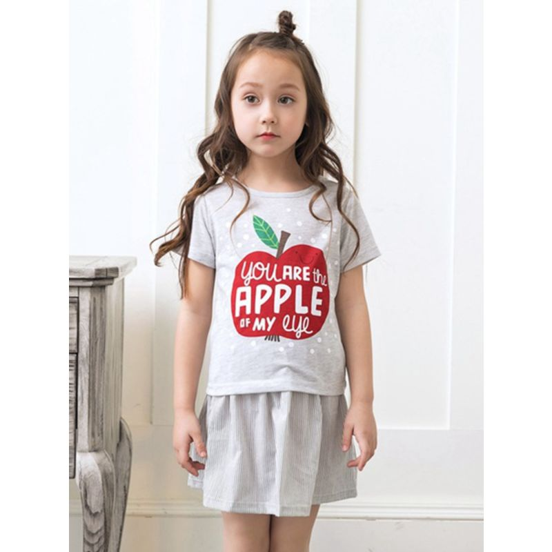 2-Piece Summer Little Big Girl Clothes Outfit YOU ARE THE APPLE OF MY EYE Letter Print T-shirt Matching Pinstripe Skirt