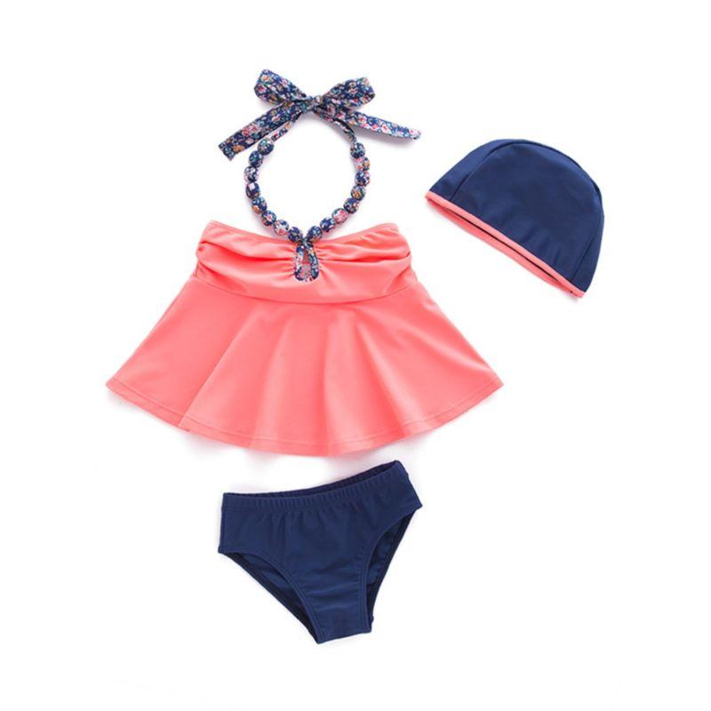 3-Piece Little Girl Swimwear Set Halter Neck Top+Shorts+Swimming Cap