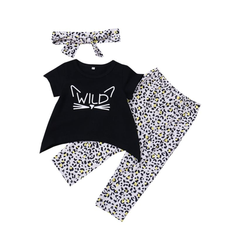 3-Piece Cool Baby Little Girl Outfit Wild Black T-shirt+Leopard Print Trousers+Headband