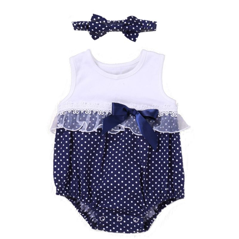 Lace Trimmed Bow Polka Dots Baby Girl Sleeveless Bodysuit Matching Headband
