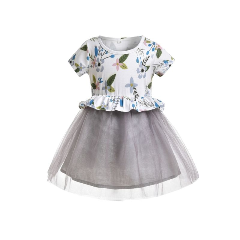 Baby Little Girl Flower Mesh Patchwork Summer Dress
