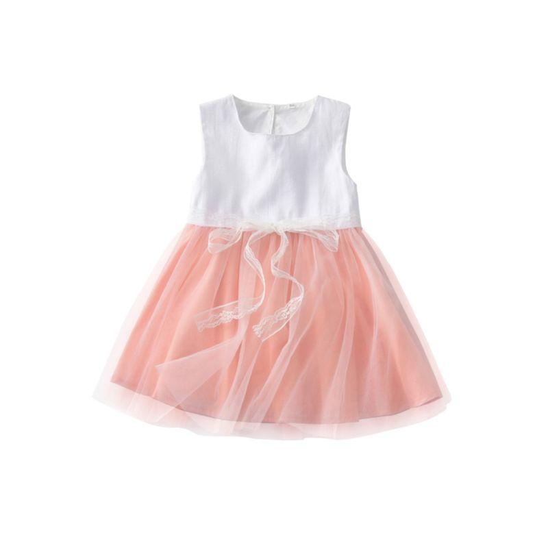 Stylish Baby Little Girl Sleeveless Bow Mesh Patchwork Dress