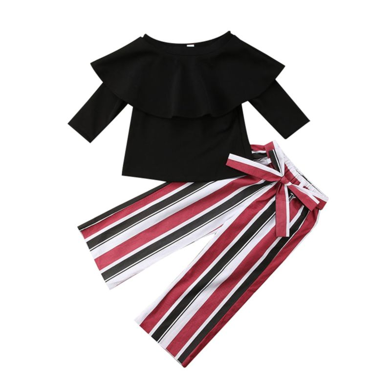 2-Piece Spring Fashion Toddler Little Girl Outfit Black Ruffle Top Matching Bow Stripe Trousers