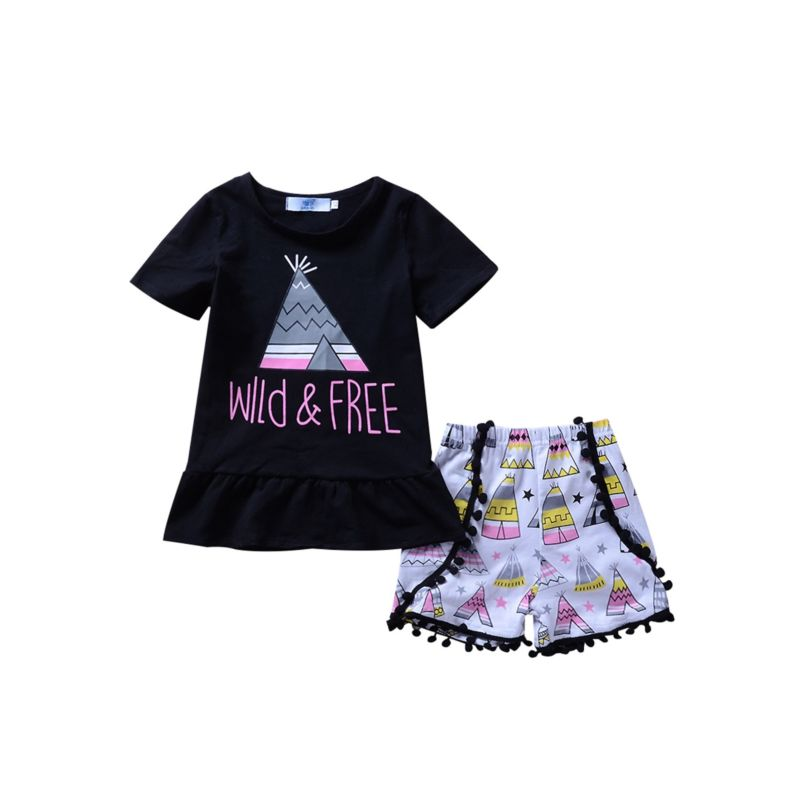 2-Piece Summer Baby Toddler Girl Outfit WILD & FREE Black Ruffle Top Matching Pom Pom Trim Shorts