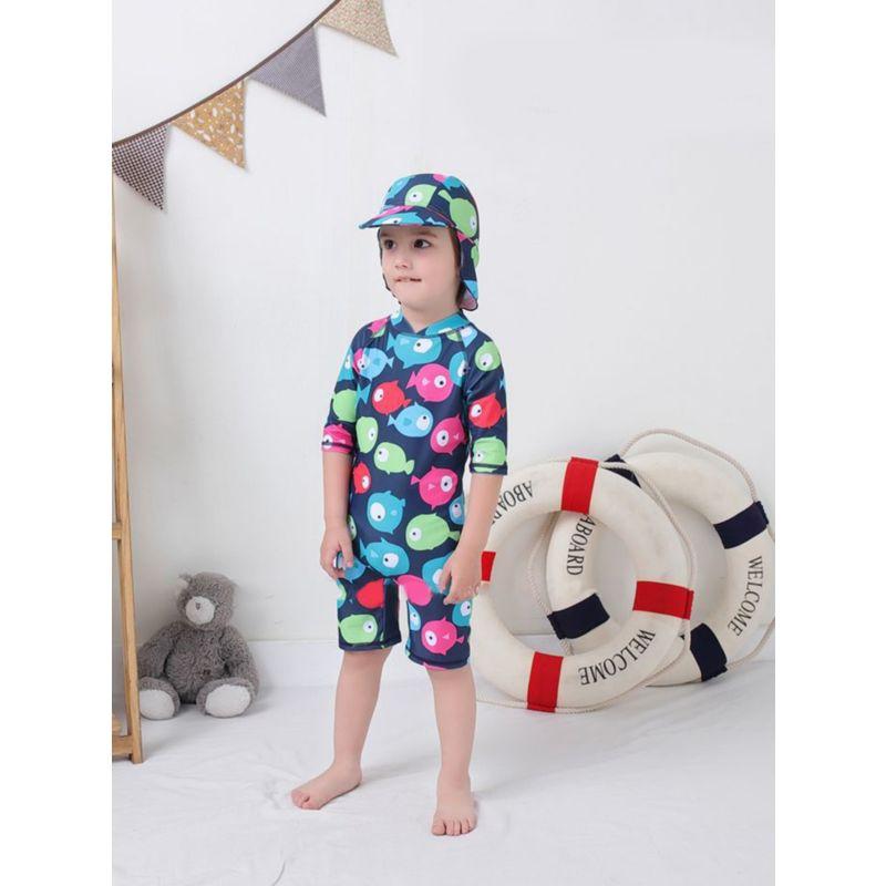 2-Piece Toddler Little Boy Fish Print Bathing Suit Matching Swimming Cap
