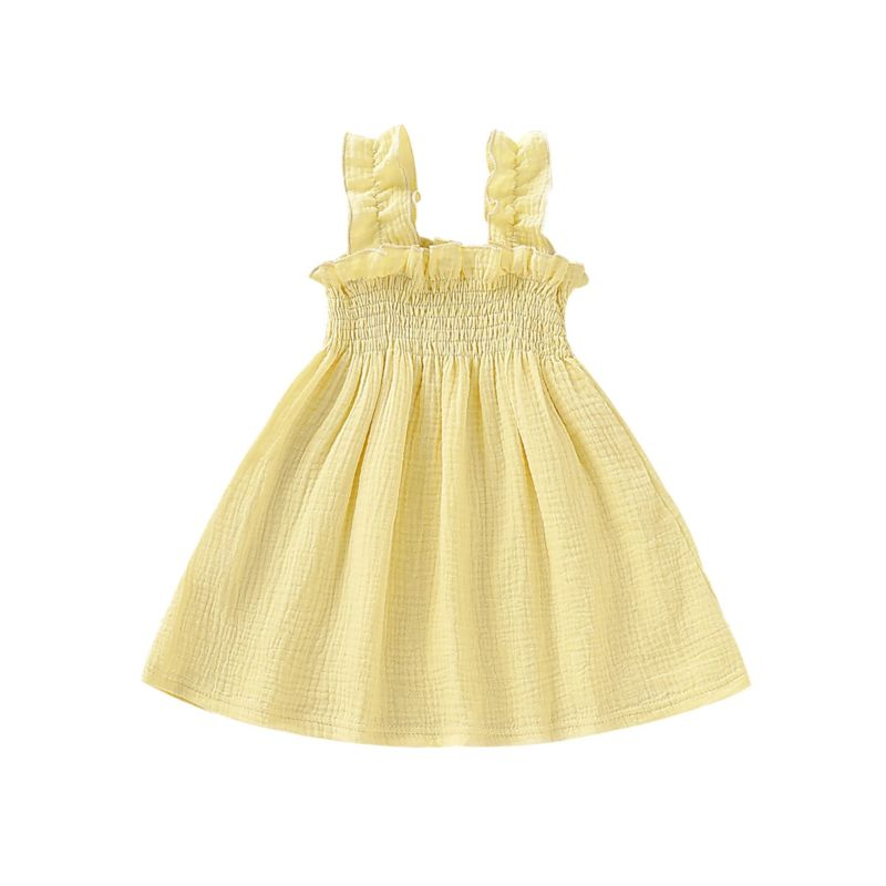 Baby Little Girl Solid Color Muslin Ruffle Suspender Dress
