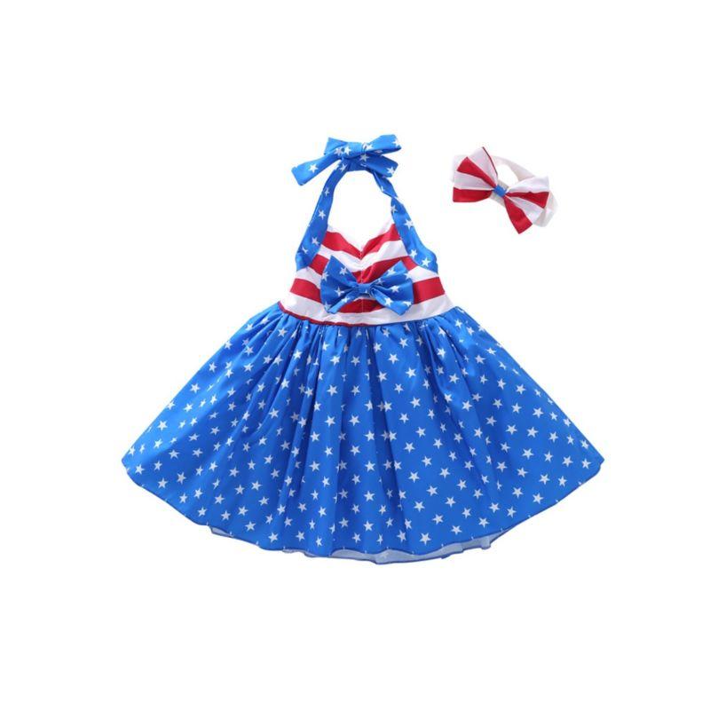 2-Piece 4TH Of JULY Theme Halter Neck Bow Star Stripe Dress Matching Headband