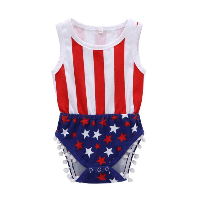Fourth of July Pom Pom Trim Stripe Star Sleeveless Bodysuit