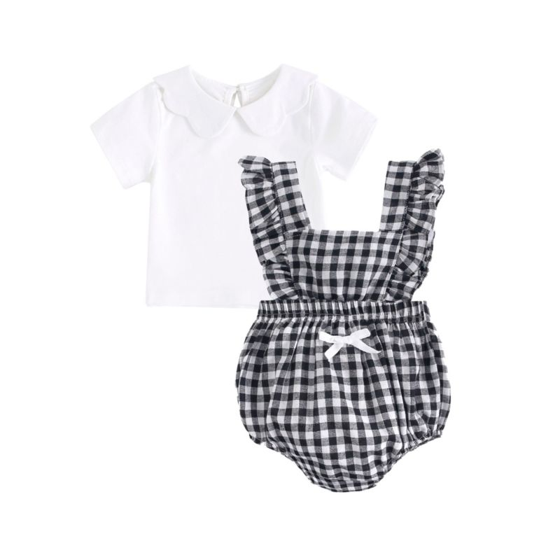 2-Piece Summer Baby Outfit White Peter Pan Collar T-shirt Matching Plaid Ruffle Romper