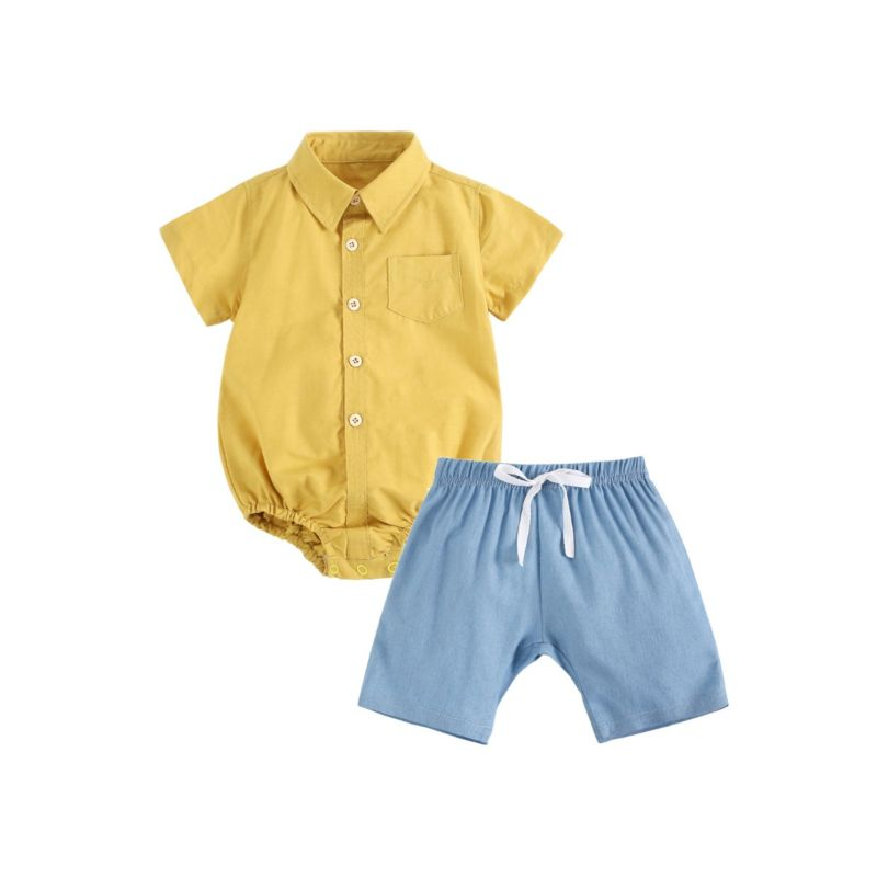 2-Piece Summer Baby Outfit Solid Color Turn-down Collar Bodysuit Matching Pull-on Shorts