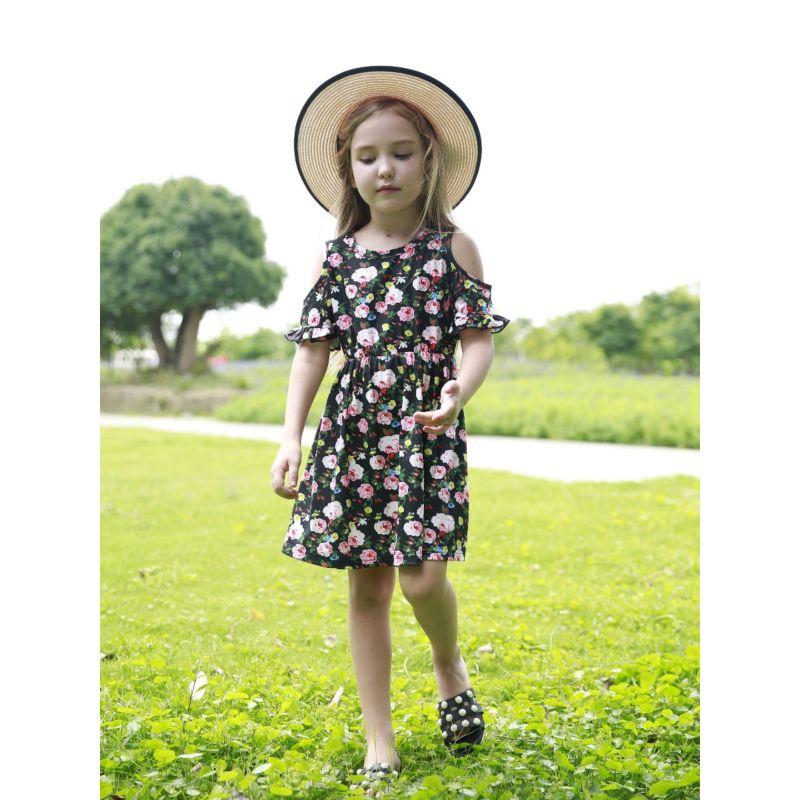 Floral Off Shoulder Flared Sleeve Summer Dress