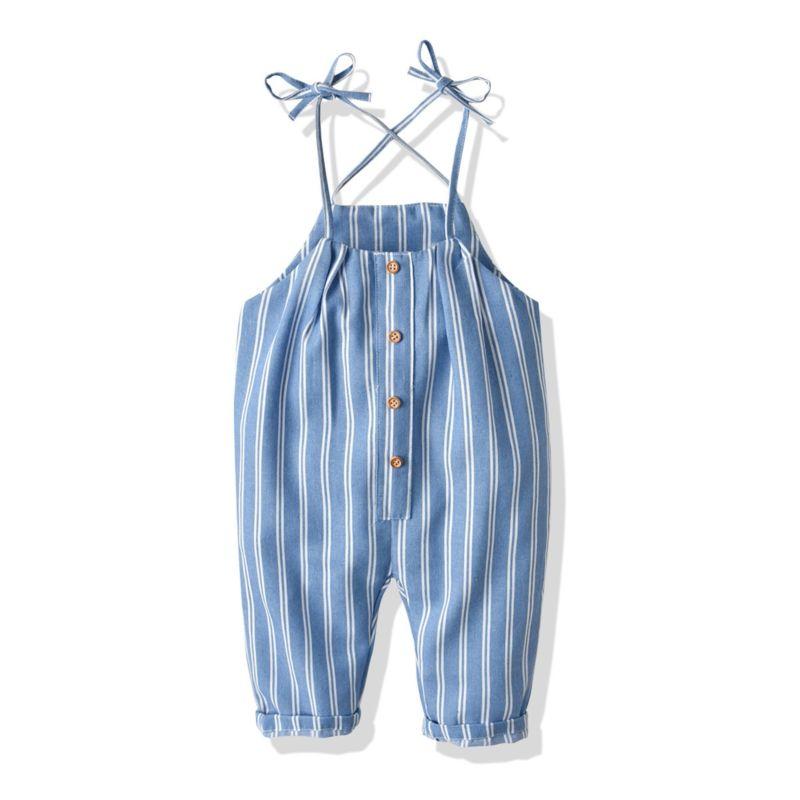 Stripe Buttoned Baby Little Kids Suspender Pants