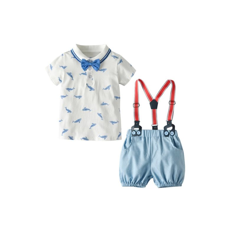 2-Piece Summer Whale Infant Little Boys Clothes Outfits Polo Shirt Matching Bow Tie+ Pinstripe Braces Shorts