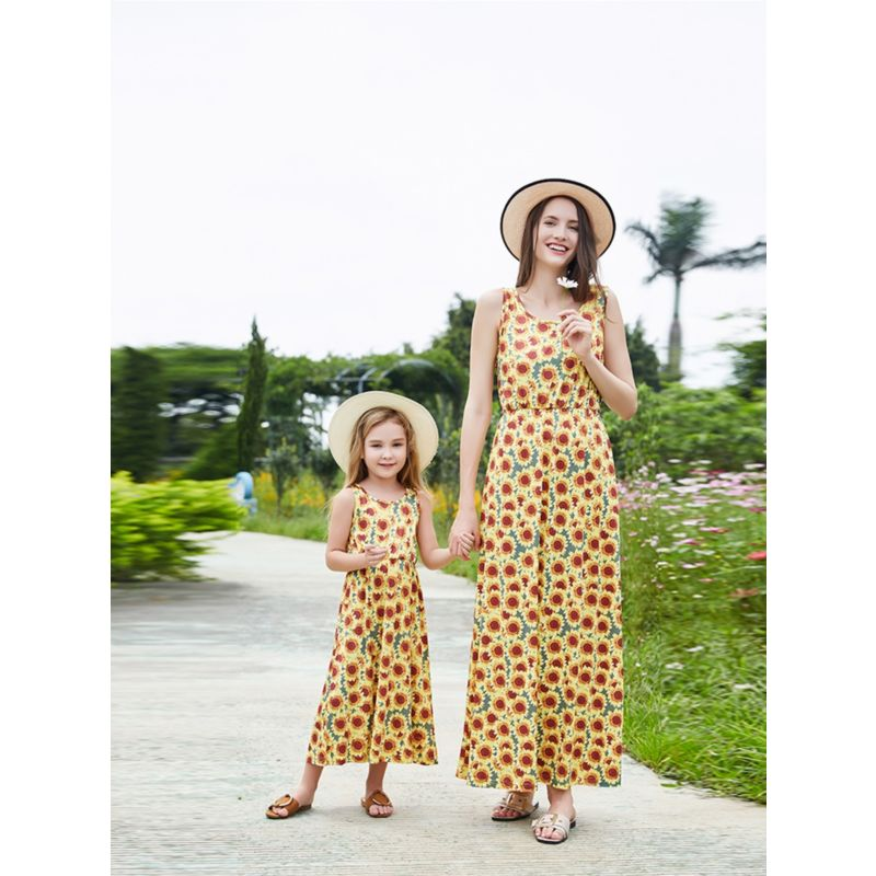 Mommy and Me Sunflower Sleeveless Dress