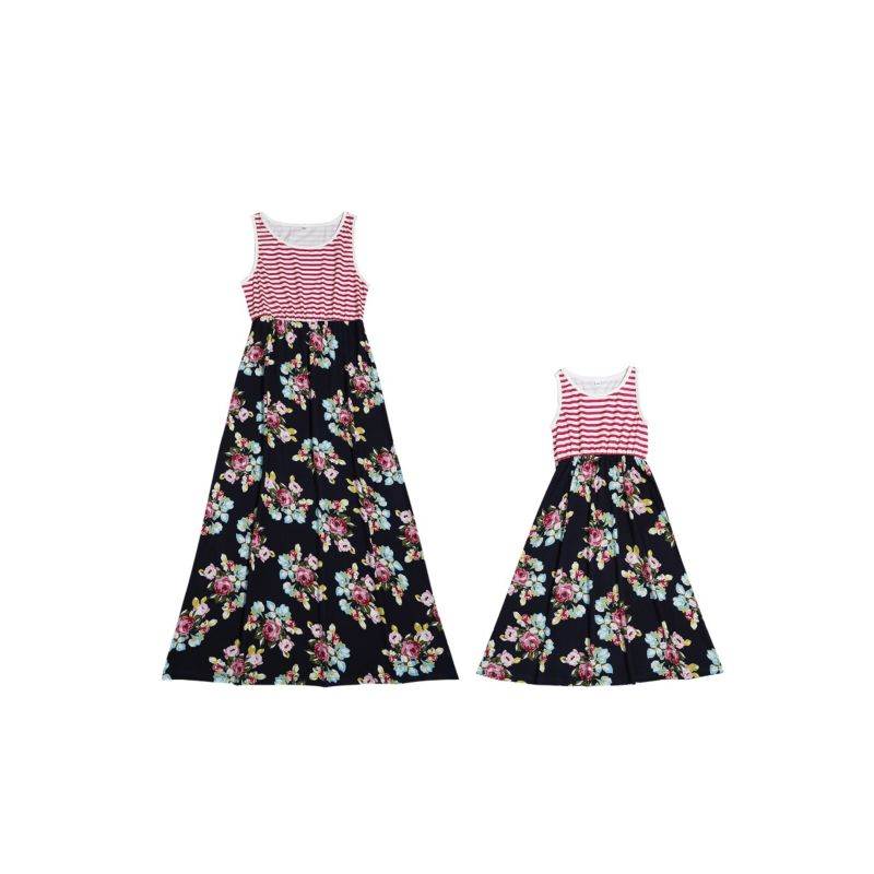 Mom and Daughter Striped Flower Patchwork Sleeveless Dress