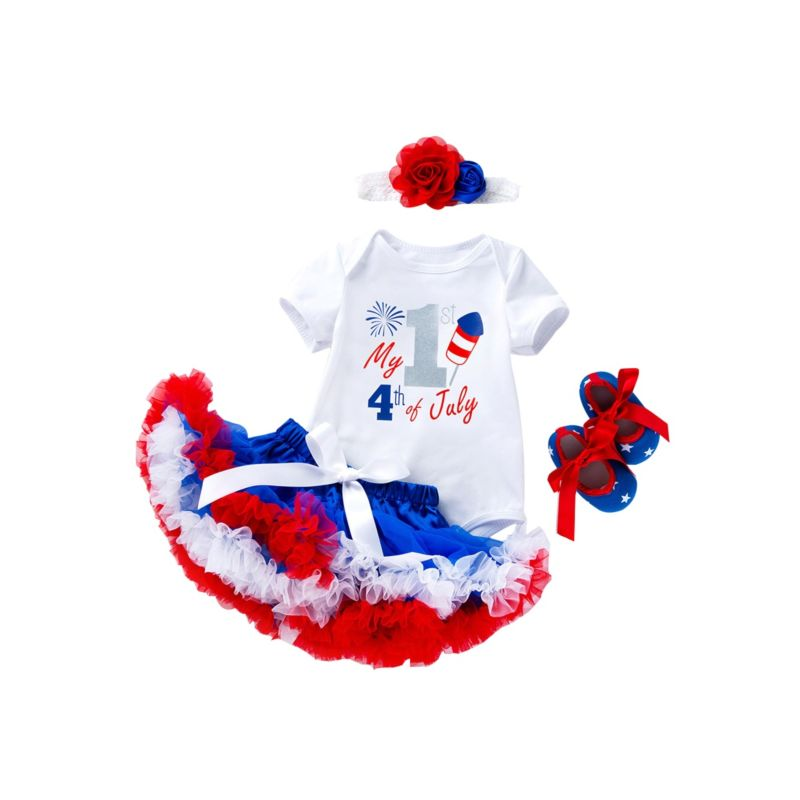 4-Piece Fourth Of July Baby Outfit Bodysuit+Bow Tutu Skirt+Shoes+Headband