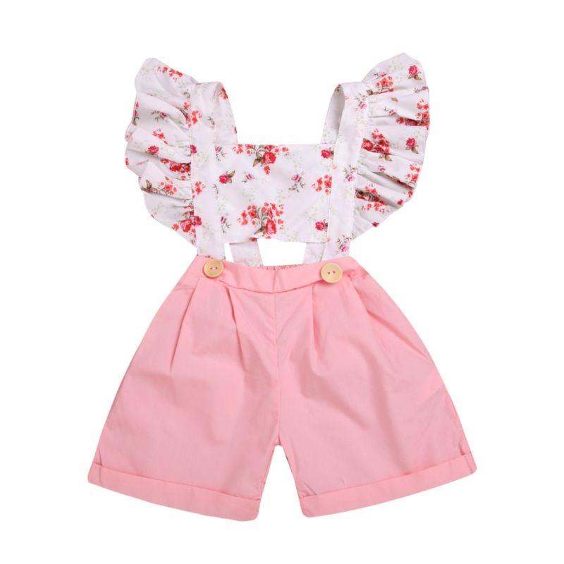 Flutter Sleeve Flower Baby Toddler Kids Jumpsuit