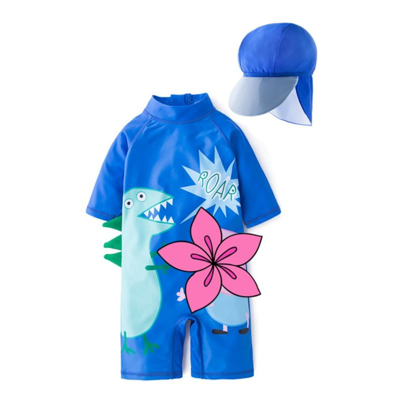2-Piece Dinosaur Flower Bathing Suit Matching Swimming Cap
