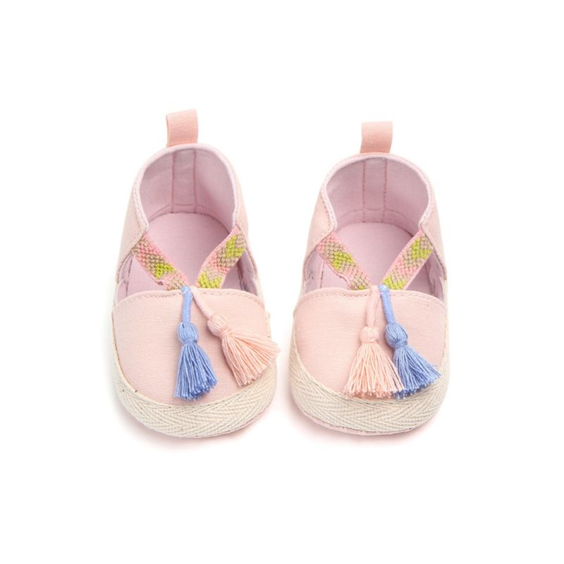 Vintage Tassel Trim Baby Anti-Slip Prewalker Shoes