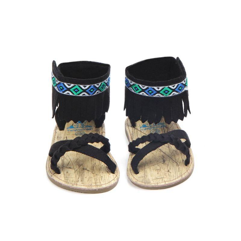 Vintage Tassel Trim Baby Anti-Slip Prewalker Sandal