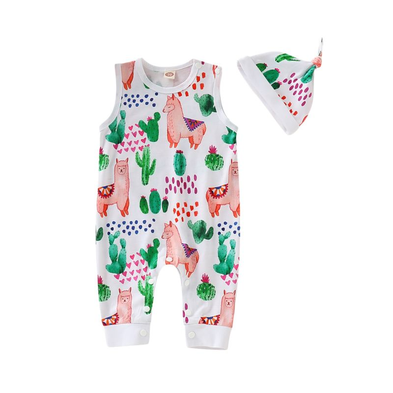 2-Piece Summer Alpaca Cactus Baby Jumpsuit Matching Hat