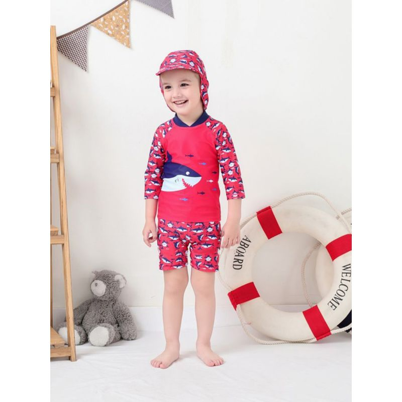 3-Piece Shark Pattern Swimwear Set Top+Shorts+Swimming Cap