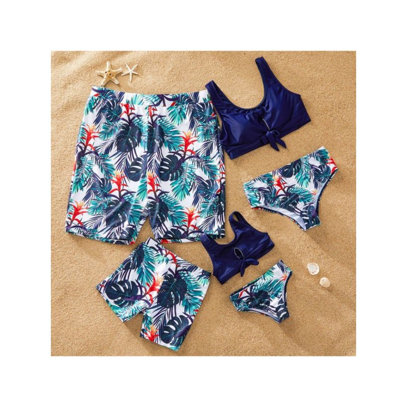 Dad and Son Family Outfit Big Leaf and Flower Print Swimming Trunks