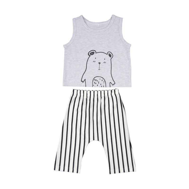 2-Piece Summer Baby Outfit Cartoon Animal Tank Top Matching Stripe Pants