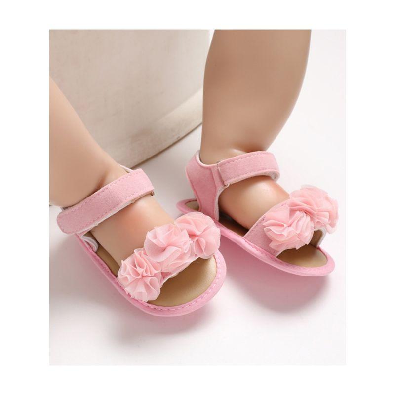 Flower Trim Solid Color Baby Sandal