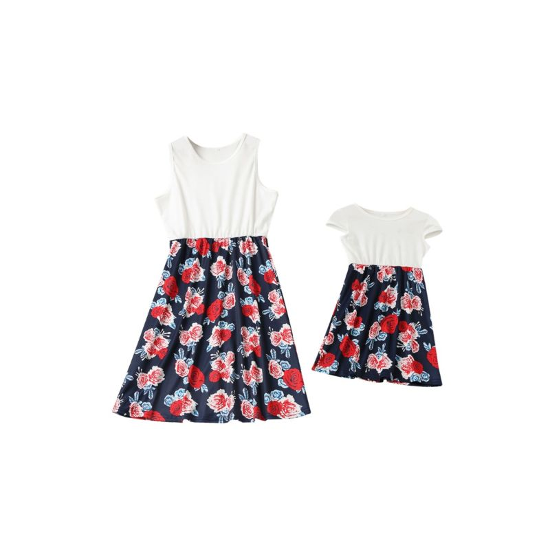 Mommy and Me Flower Patchwork Summer Dress