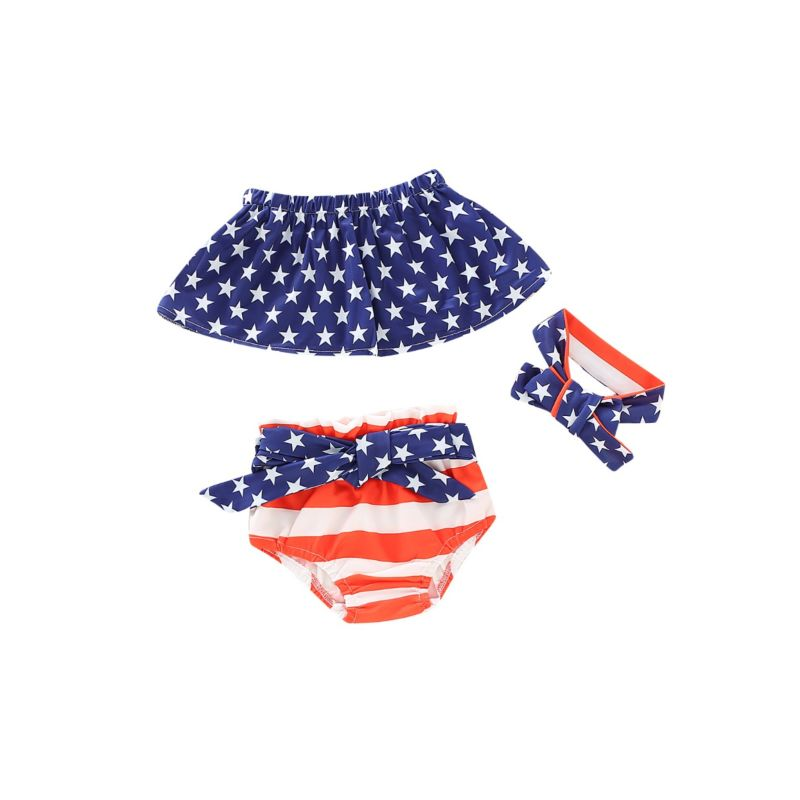 3-Piece Fourth Of July Baby Toddler Kids Swimwear Set Off Shoulder Top+Bow Shorts+Headband