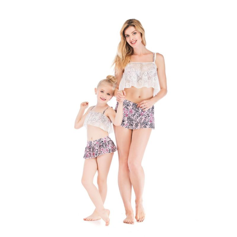 Mommy and Daughter Lace Trim Floral Bikini Swimwear