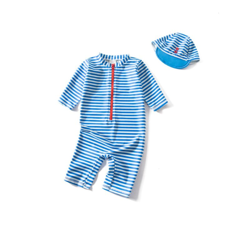 2-Piece Stripe Swimwear Bathing Suit Matching Swimming Cap