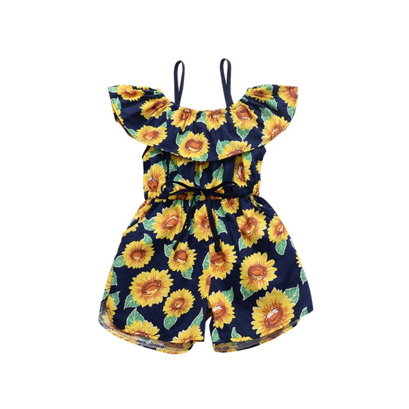 Summer Ruffle Collar Sunflower Baby Jumpsuit