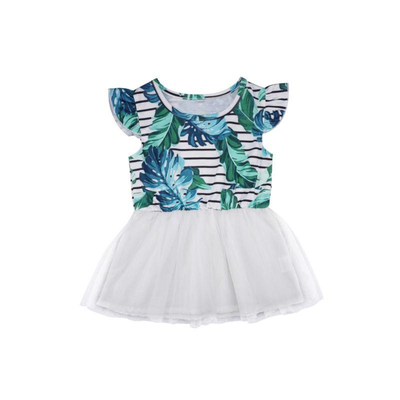 Flutter Sleeve Leaf Stripe Mesh Patchwork Baby Dress