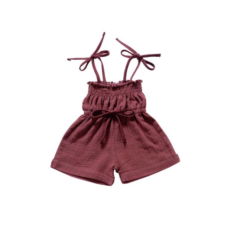 Solid Color Tie Baby Muslin Jumpsuit
