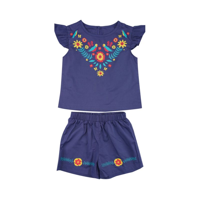 2-Piece Vintage Style Baby Toddler Girl Outfit Flutter Sleeve Flower Top Matching Shorts
