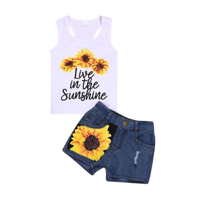 2-Piece Sunflower Style Outfit Tank Top Matching Fringe-hem Denim Shorts