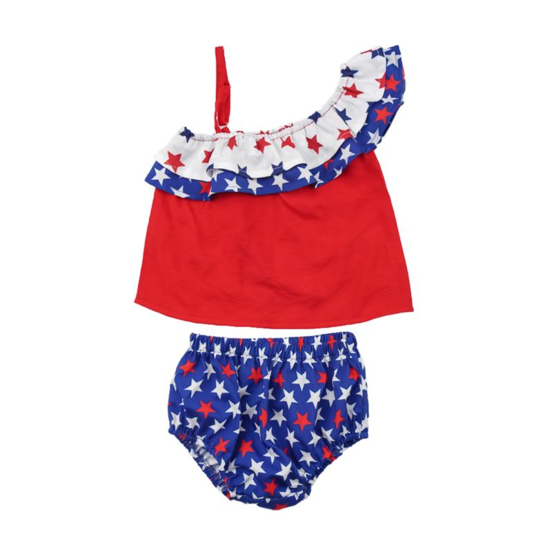 2-Piece Fourth of July Baby Outfit One Shoulder Top Matching Star Shorts