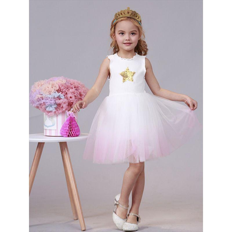 Sequin Star Mesh Patchwork Princess Dress