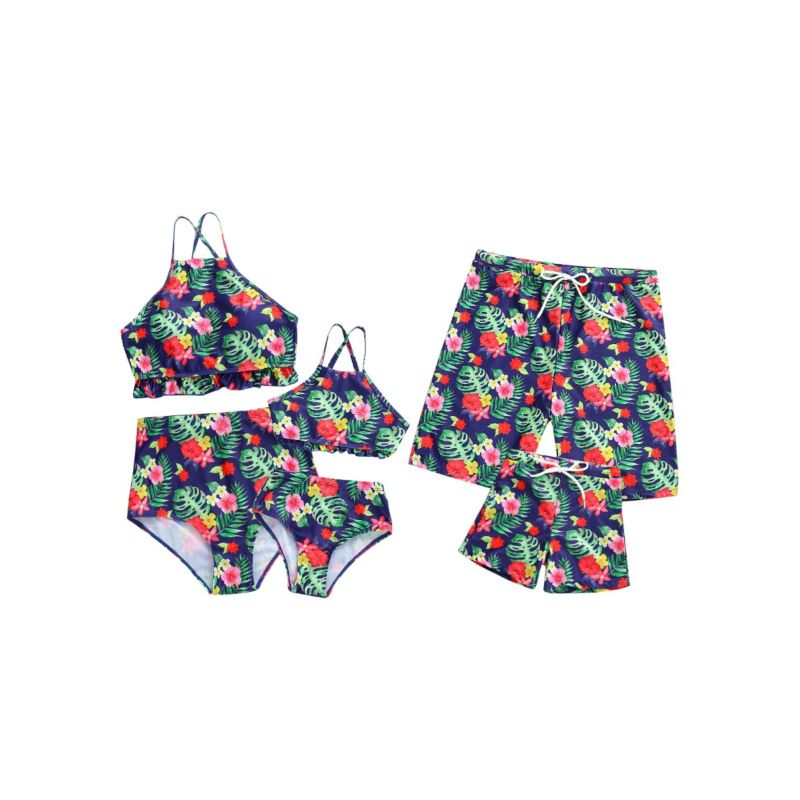Daddy and Son Family Outfit Flower Leaf Print Style Swimming Trunks