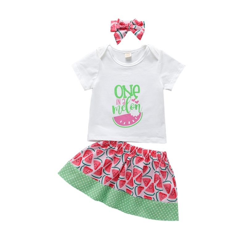 3-Piece Baby Clothes Outfit ONE IN A MELON T-Shirt+Skirt+Headband