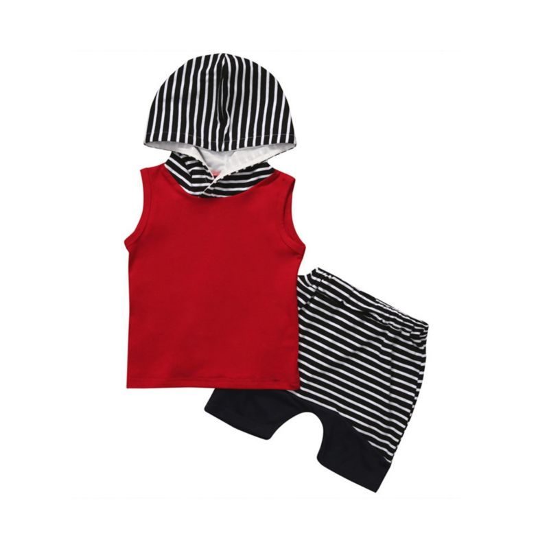 2-Piece Baby Boy Clothes Outfit Hooded Tank Top Matching Stripe Shorts