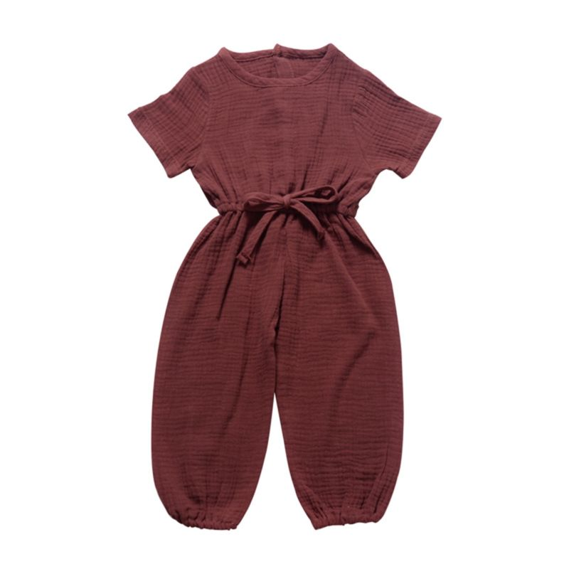 Solid Color Muslin Baby Toddler Girl Jumpsuit