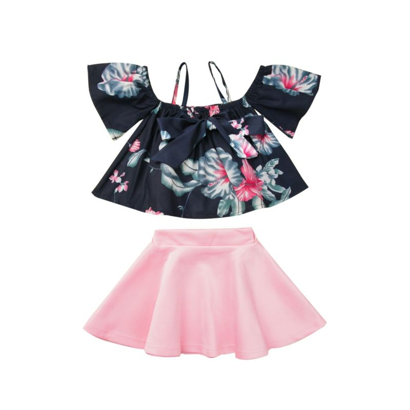 2-Piece Baby Little Girl Outfit Flower Off Shoulder Top Matching Pink Skirt