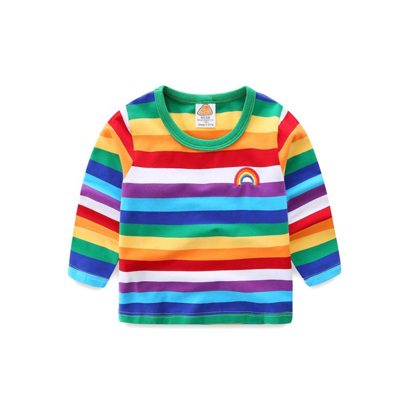 Spring Baby Little Big Kids Rainbow Color T-shirt Pullover