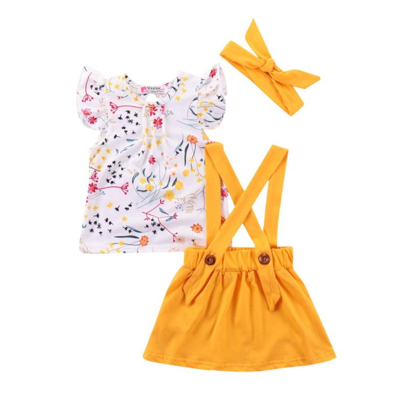 3-Piece Fashion Baby Clothes Outfit Flutter Sleeve Flower T-shirt+Yellow Jumper Skirt+Headband